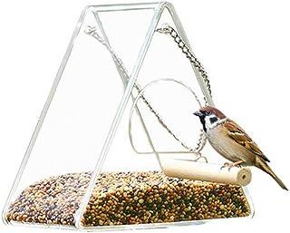 mkki Hanging Clear Acrylic Window Bird Feeder with Chains,Squirrel Proof,Easy to Clean,Outdoors Birdfeeder for Wild Birds,...