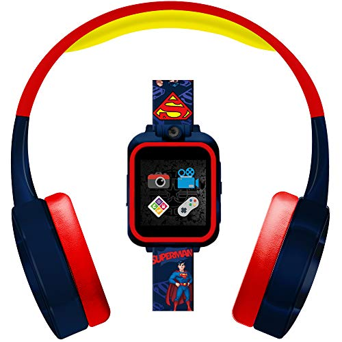 PlayZoom Superman 2 Kids Smartwatch & Headphones - Camera, Clock, and Interactive Active and Educational Games, Learning Toys for Boys and Girls (Red and Yellow Superman Print)