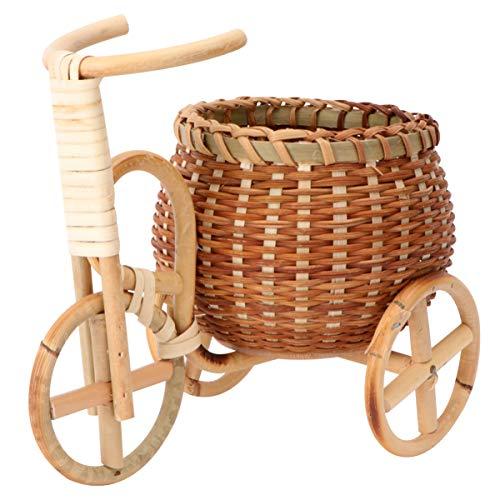 BESPORTBLE Cesta de Mimbre Samll Hecha a Mano Cesta de Bambú Tejida para Almacenaje Cesta de Planta de Flores con Forma de Triciclo para Decoración de Escritorio de Boda en Casa (Estilo 2)