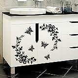 Autocollant mural noir classique pour décoration florale de salle de bains