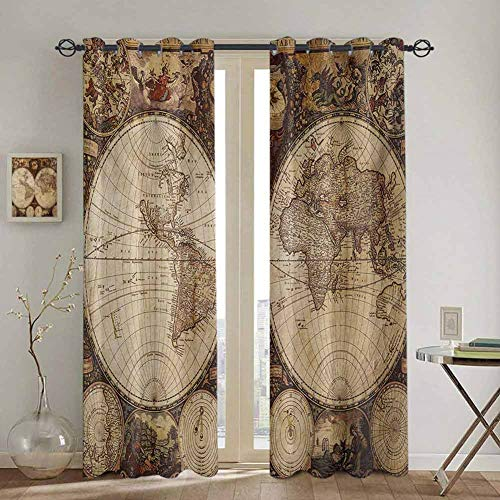 DONEECKL World Map Nautical Curtain Old World Map Drawn in 1720s Nostalgic Style Art Historical Atlas Vintage Design Waterproof Fabric W52 x L84 Inch Multicolor