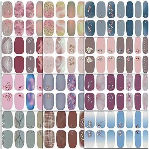 Comdoit 12 Sheets Nail Polish Stickers Full Nail Wraps Sticker Nail Polish Strips for Women 3D Nail Art Stickers Self Adhesive Decals Nail Art Designs Nails Strips Polish Set Manicure Tips Decor.