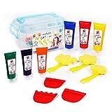 TBC The Best Crafts Fingerfarben 6 Tube Tempera Farben Temperafarben Schulmalfarben für in Kindergarten Schule und zu Hause für Kinder Mädchen Junge Baby Studenten