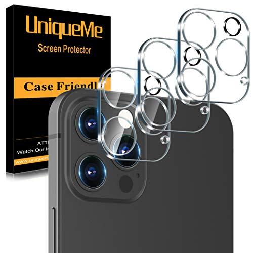 UniqueMe [3 Pezzi] Pellicola Fotocamera compatibile con iPhone 12 Pro 6.1 Pollici Protezione Lente Pellicola Posteriore, Vetro Temperato 9H [Bubble Free] compatibile con iPhone 12 Pro