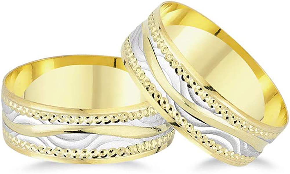 Anelise 14K Real Solid Yellow White Fine Gold 1485 Wedding Band Rings Set For Women and Men - 2.4 gr + 2.4 gr 6.9 mm Dainty Rings