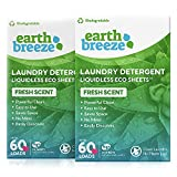 Earth Breeze - Liquidless Laundry Detergent Sheets - Fresh Scent - No Plastic Jug (120 Loads) 60 Sheets (Pack of 2)