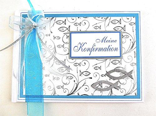 Gästebuch zur Konfirmation 'Fische' - türkisblau Din A5 quer *HANDMADE*