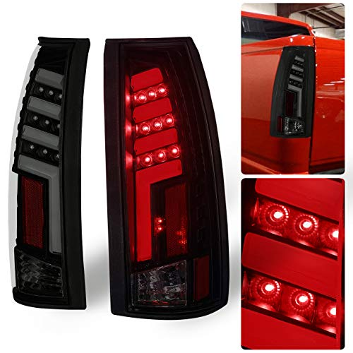 AJP Distributors For Chevy/For GMC C/K C10 1500 2500 3500 Pickup Truck Rear Tail Light Lamps LED Brake Lamp Black Housing Smoke Lens Red Tron Neon Tube Style Upgrade Replacement