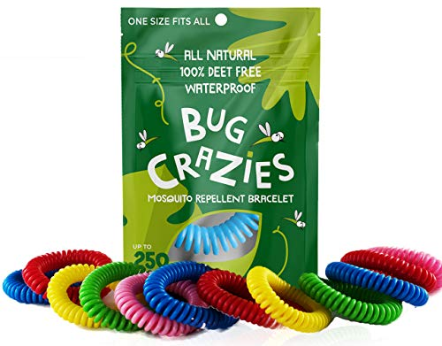 Bug Crazies Mosquito Repellent Wristbands 12 pk-Waterproof Mosquito Repellent Wristbands, One Size Fit-All Mosquito Bracelets, Resealable Deet-Free Mosquito Repellent Bracelets for Adults and Children