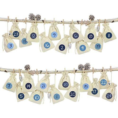 24 Sacchetti di Tessuto Calendario dell'avvento da riempire - con cordicella del fornaio e Le staffe di Legno - per l'auto Decorazione - Panno di Lino
