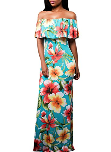 Flowers Off Shoulder Ruffle Party Homecoming Maxi Dress, Small Turquoise