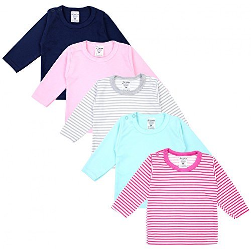 TupTam Baby Mädchen Langarmshirt Gestreift 5er Set, Farbe: Farbenmix 1, Größe: 68