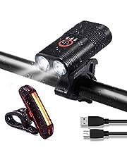自転車ライトled IPX6防水 usb充電式 テールライト付き 5モード対応 300メートル照射 自転車用ヘッドライト 前照灯 ロードバイクライト 懐中電灯兼用