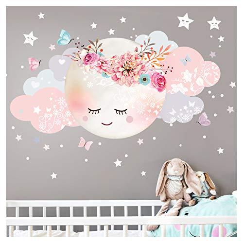 Little Deco Wandsticker Kinderzimmer Mädchen Mond & Wolken I M - 51 x 26 cm (BxH) I Wandtattoo Babyzimmer selbstklebend Wandaufkleber Sterne Blumen Kinder DL243