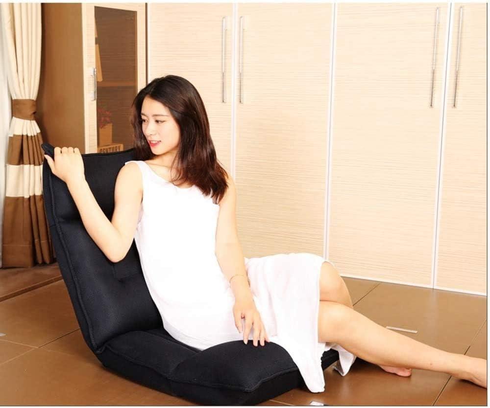 WERCHW Chaise de Sol Canapé, Plancher Pliing Pliing Canapé Chaise Chaise Chaise Longue Pliante Pliante Lit De Sleepoir Réglable Couch Reflinateur 14 Positions Noir