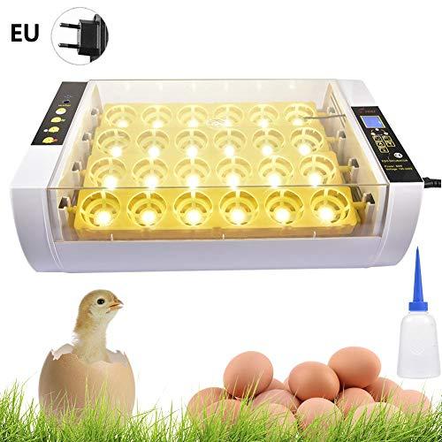 Ksruee Inkubator Vollautomatische Brutmaschine, 24 Eier Hühner Eier Brutgerät LED Temperaturanzeige und Feuchtigkeitsregulierung, Inkubator Brutautomat