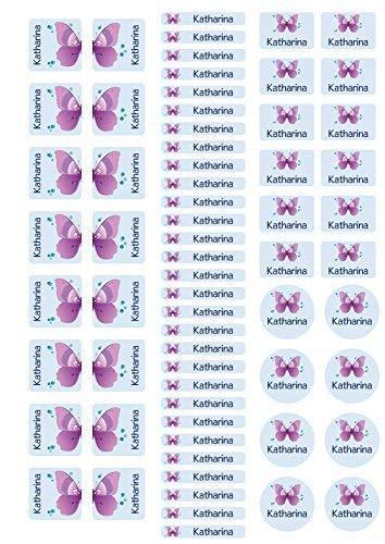 Mein Zwergenland Stickerbogen mit Schuhaufkleber für den Kindergarten mit Namen Schmetterling