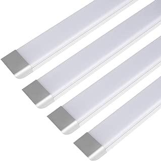 3FT LED Tube Light, 45W LED Integrated Batten Lights, 3000 Lumens, 6500K Daylight, Milky Cover, Fluorescent Fixture Replacement for Garage, Shop, Warehouse, Office, Market - 4 Packs