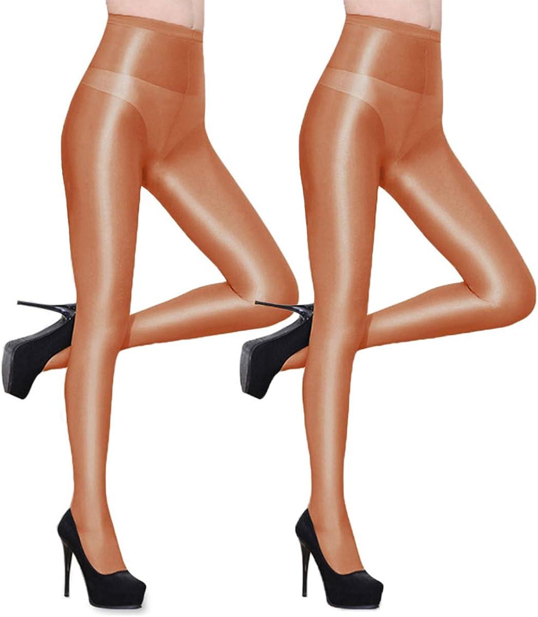 Abberrki Women Sexy Dance Tights Shaping Oil Socks Shiny Silky Sheer Pantyhose - 2 Pairs