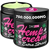 Natural Hemp Cream for Joints, Neck, Back, Knees, Elbows, Hips - Premium Hemp Oil Extract Gel with Glucosamine, Emu Oil, Arnica, Msm - Made in The USA