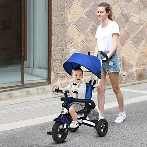 Costzon Baby Tricycle, 6-in-1 Foldable Steer Stroller, Learning Bike w/Detachable Guardrail, Adjustable Canopy, Safety Harness, Folding Pedal, Storage Bag, Brake, Shock Absorption Design, Blue