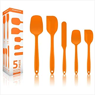 Ovente 5 Pieces Non-Stick Silicone Spatula Set with Heat Resistant & Stainless Steel Core, Dishwasher Safe Premium Utensil...
