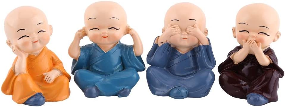 4 Monks Figurine Statue, Cute Little Monks Hear No Evil See No E