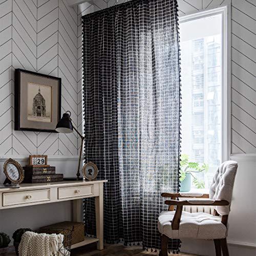 "JAIJY Heavyweight Buffalo Check Plaid Black Tassels Window Curtains Cotton Linen Semi Blackout Farmhouse Bedroom Drapes Rod Pocket Geometric Design Curtain for Living Room, 1 Panel, 59""x78"", Black"