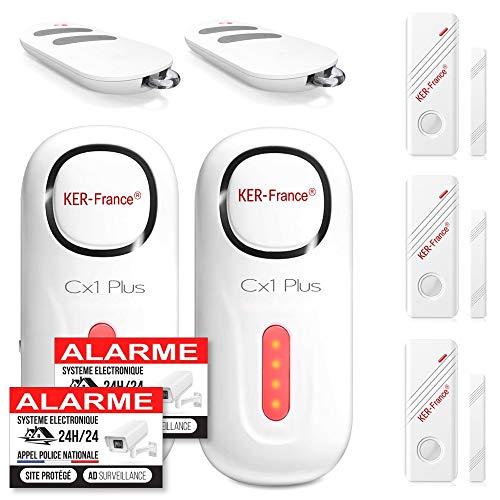 Alarmsysteem huis draadloos – alarm huis woning garage met 2 sirenen 120 dB – 3 deur- en raamdetectoren – 2 afstandsbedieningen – 8 stickers – alarm voor deur en raam