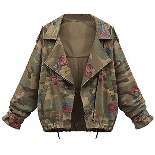 VEMOW Herbst Damen Frauen Plus Größe Lose Flügelhülse Camouflage Lässige Tägliche Lose Mantel Tops Jacke Outwear(Tarnung, 40 DE/L CN)