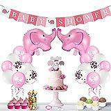 FORMIZON Decoraciones Baby Shower para Niña, Banner de Fiesta de Bebé, Globos de Papel de Elefante y Globos de Látex, Decoración de Baby Shower para Fiesta de Revelación de Género(Rosa)