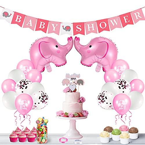 FORMIZON Decoraciones Baby Shower para Niña, Banner de Fiesta de Bebé, Globos de Papel de Elefante y Globos de Látex, Decoración de Baby Shower para Fiesta de Revelación de Género(Rosa) ⭐