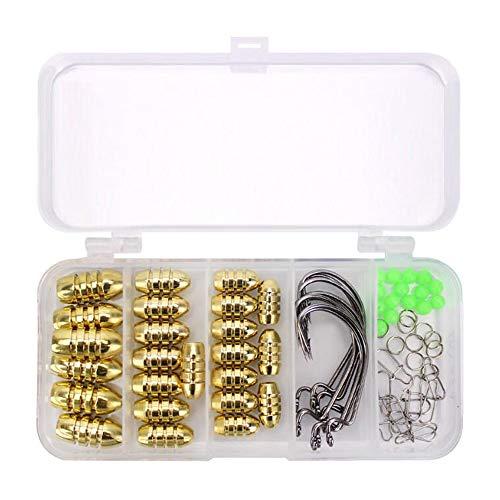 VOANZO Texas Angelhaken-Set, 69-teilig, mit Gewinde aus Kupfer, Kurbelhaken, Stopperperperle, verstärkter Stift, Doppelkreis