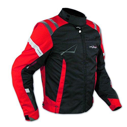 A-Pro - Giacca da moto con protezioni e rivestimento termico interno, certificata CE, taglia L, rosso