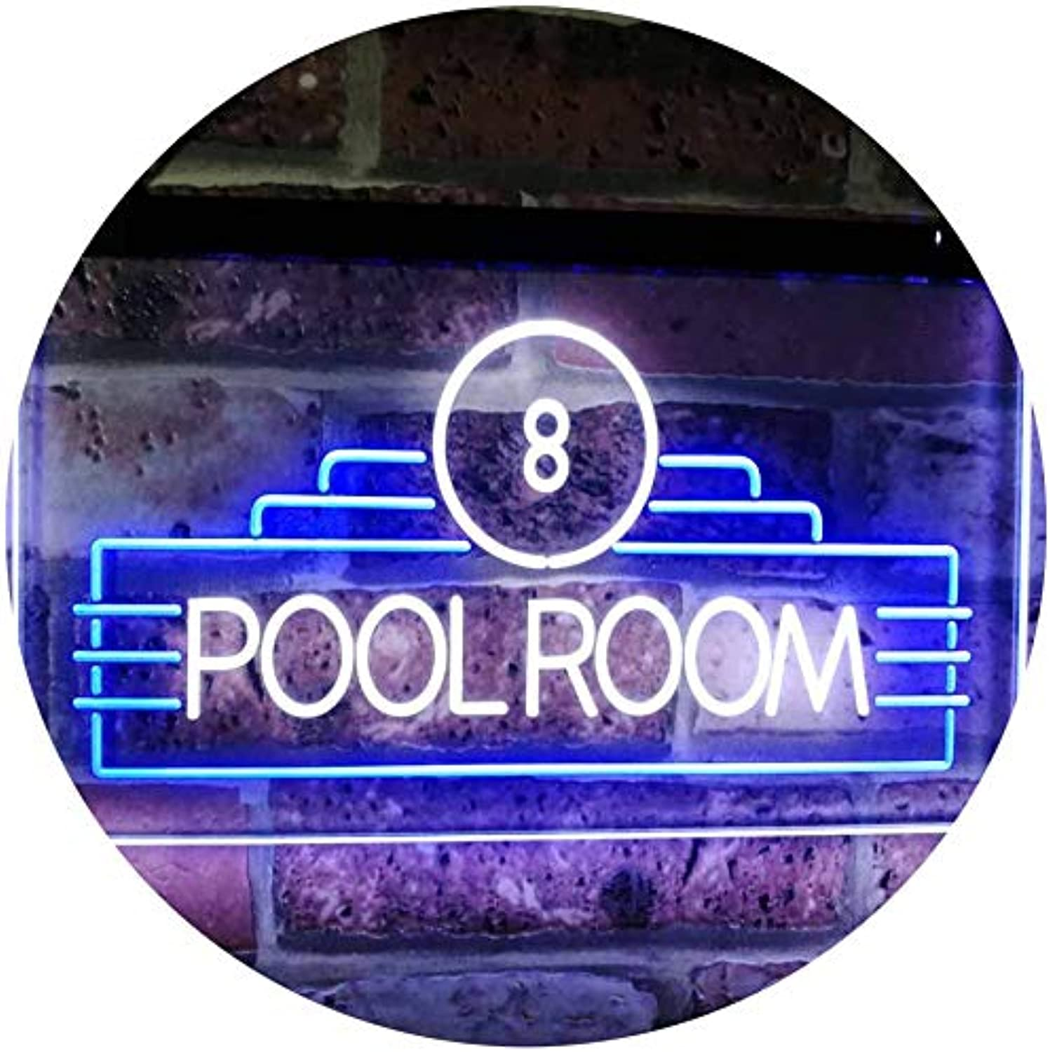 ADVPRO Pool Room 8 Ball Snooker Billiards Man Cave Dual Farbe LED Barlicht Neonlicht Lichtwerbung Neon Sign Weiß & Blau 400mm x 300mm st6s43-i2773-wb