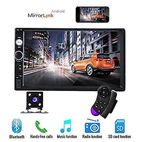 Camecho 17,8 cm Doppel Din Auto Radio Audio Bluetooth Touch MP5 Player USB FM Android Telefon Spiegel Link Entertainment Multimedia Stereo + 4 LED Mini Rückfahrkamera mit Lenkradfernbedienung