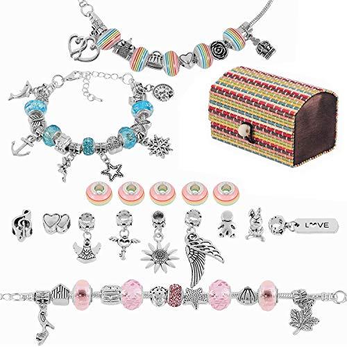 Girls Charm Bracelet Making Set, Hapzoom 58PCS Girls DIY Jewellery Making Kits for Kids, Present for 8-12 Year Old Girl, DIY Silver Snake Chain Jewelry Bracelet (Box Size:60x60x90MM))