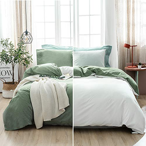 SOULFUL Double Bedding Duvet Cover Set - Washed Cotton Duvet Cover Double Size 3PCS, Plain Reversible Duvet Cover Set with 2 Pillowcases, Zipper Closure(200x200cm, Mineral Green/white)