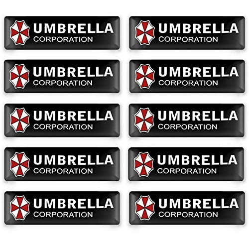 Yoin 10 Stück Auto Styling 3D Epoxy Dekorationen Umbrella Corporation Emblem Aufkleber Aufkleber für KIA Ford Subaru Toyota BMW Citroen Peugeot, Schwarz, Für Regenschirm