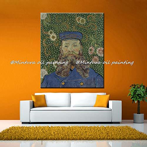 SHYHSCLBD olieverfschilderij op canvas handgeschilderd, abstracte afbeelding schilderen, beerden man in blauw trenchcoat, grote kunst muur decoratie voor huis woonkamer slaapkamer restaurant 130 x 195 cm