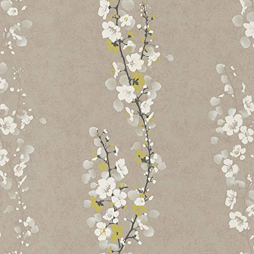 Carta da parati tnt (tessuto non tessuto) giapponese cinese Marrone Verde Nero/Antracite 953231 95323-1 A.S. Création Mix | Marrone/Verde/Nero/Antracite | Rotolo (10,05 x 0,53 m) = 5,33 m²