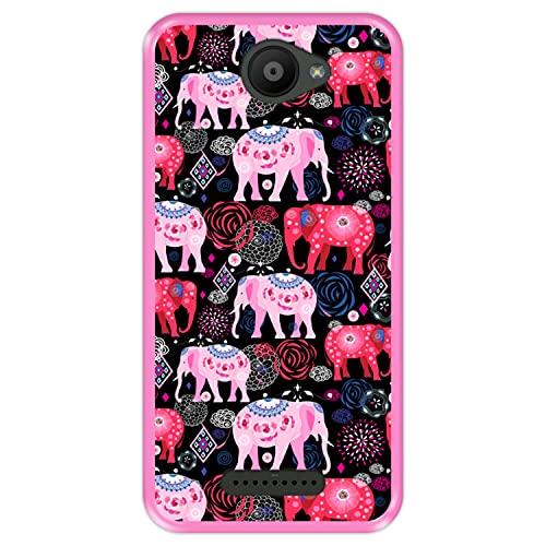 Hapdey silikon Hülle für [ Bq Aquaris U - U Lite ] Design [ Helles Muster von rosa & roten schönen Elefanten ] Rosa Flexibles TPU
