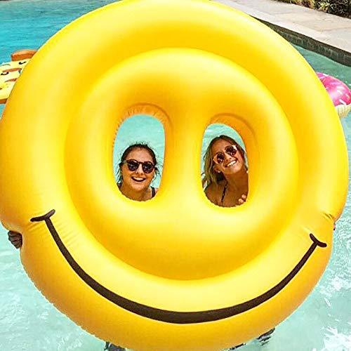 asdfkong Riesen Smiley Aufblasbare Schwimmen Breiter Pool Float Wasser Spaß Spielzeug LOL Emoji Luftmatratze Strandliege Floß 180 cm