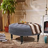 Baby Plum Round Ottoman Foot Rest Living Room Ottoman Coffee Table with Stools Tufted Ottoman Nail Head Trim Castered Legs Design Footstool, 34 inch, Dark Gray