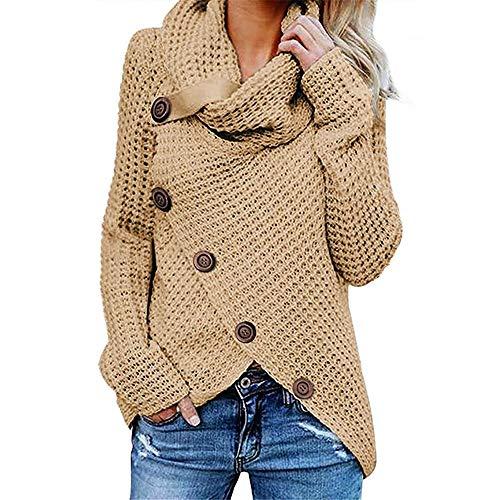 JianFan 2019 otoño e Invierno suéter de Cuello Alto Grueso y cómodo suéter de Punto suéter de Punto de Mujer