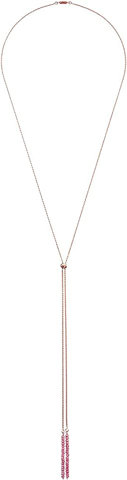 Dee Berkley - Bolo Convertible Necklace Sterling Silver 14KT Rose Gold Overlay with Coated Quartz