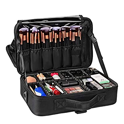 Travel Makeup Case,Chomeiu- Professional Cosmetic Makeup Bag Organizer,Accessories Case, Tools case (Black-M) (black-14inch)