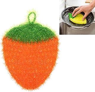 かわいいイチゴふきんポリエステル繊維ディシュラグ洗濯布クリーンタオルホームキッチンクリーニングツール (色 : オレンジ)
