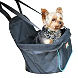 Animal Planet Puppy Booster Car Seat Cover for Small Dogs - Portable, Foldable, Collapsable Pet Car Carrier with Safety Leash - 12lbs and Under - Black W. Blue Trim