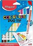 Maped Color'Peps Feutres de Coloriage Double Mines Fine 2mm et Large 3,9mm et Encre Lavable à l'eau - Pochette 10 Feutres Double Pointes